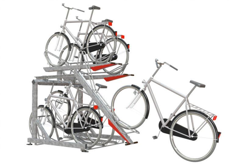 2-våningsparkering för cyklar